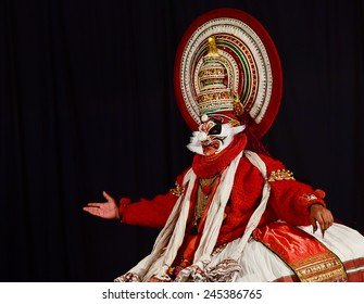 TRIVANDRUM, KERALA, INDIA, JANUARY 19, 2015: Kathakali - the classical Kerala-based dance-drama on stories from Indian mythology, noted for its elaborate costumes and gestures. Sugreevan in Ramayana.
