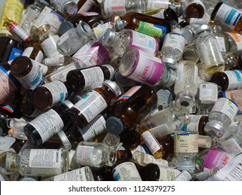 TRIVANDRUM, KERALA, INDIA, JULY 01, 2018: Hospital waste. Empty bottles after administering the medicine in a heap meant for safe disposal.