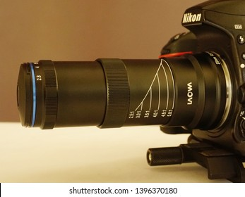 TRIVANDRUM, KERALA, INDIA, MAY 07 2019: Fully extended (5X) Laowa 25mm f/2.8 2.5-5X Ultra Macro lens on a Nikon D750 camera mounted on a  Manfrotto 454 Sliding Plate.