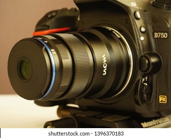TRIVANDRUM, KERALA, INDIA, MAY 07 2019: Laowa 25mm f/2.8 2.5-5X Ultra Macro lens on a Nikon D750 camera mounted on a  Manfrotto 454 Micrometric Positioning Sliding Plate.