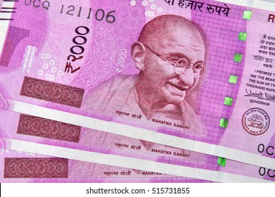 TRIVANDRUM, KERALA, INDIA, NOVEMBER 15, 2016: Close up of India's newly released Rs 2000 currency note.