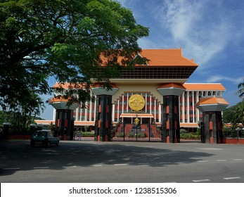 TRIVANDRUM, KERALA, INDIA, NOVEMBER 23, 2018: The Kerala State Assembly building on a bright day. Arch and the building are built in tune with traditional architecture.