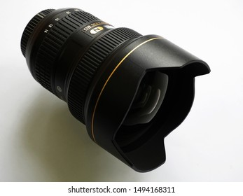 Trivandrum, Kerala, India, September 02, 2019:  Nikon 14-24 mm wide angle lens, for its digital SLR cameras, on white background.