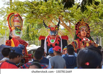 Trivandrum, Kerala, India, September 18, 2019: Three representative art forms from three states in South India. Kathakali, Jallikkattu and Yakshaganam from Kerala, Tamil Nadu & Karnataka, respectively