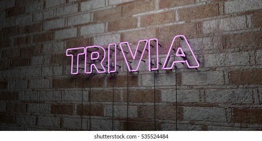 TRIVIA - Glowing Neon Sign on stonework wall - 3D rendered royalty free stock illustration.  Can be used for online banner ads and direct mailers.