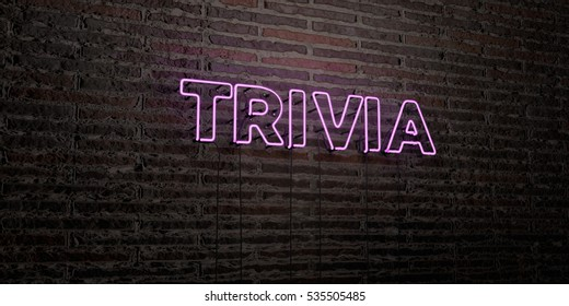 TRIVIA -Realistic Neon Sign on Brick Wall background - 3D rendered royalty free stock image. Can be used for online banner ads and direct mailers.
