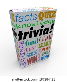 Trivia word on a box or package for a game of asking and answering questions on pop culture, or a quiz or challenge