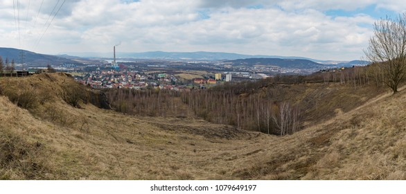 Trmice Usti nad Labem industrial city panorama in winter