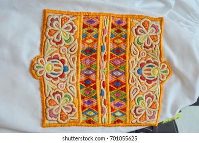 Trnava, Slovakia - 19.8.2017: Traditional embroidery of Trnava region persentation, part of Trnavska brana folkloric festival