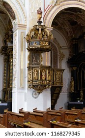 Trnava, Slovakia. 2018/4/12. A highly decorated ambo (pulpit) with statues of saints in the Saint John the Baptist Cathedral.