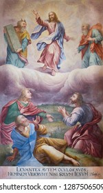 Trnava, Slovakia. 2018/4/12. The painting of the Transfiguration of Jesus. Moses and Elijah appear next to him in front of Peter, James, John the disciples. The Saint John the Baptist cathedral.