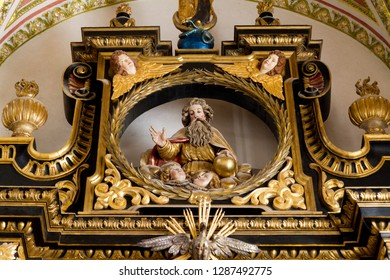Trnava, Slovakia. 2018/4/12. A statue of God the Father in reredos (raredos), i.e. a large altarpiece. The Saint John the Baptist Cathedral in Trnava.
