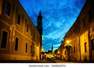 Trnava, Slovakia, 23 August 2016.Night on streets of small european  town, architecture, views, people
