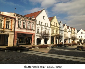 Trnava, Slovakia - 3/8/2017 - Central square in centre of historic city Trnava with beautiful colored houses/buildings.