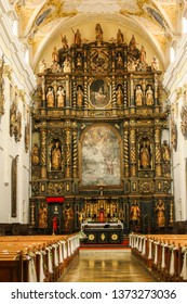 Trnava, Slovakia - 6/16/2017 - Historic altar in the cathedral of St. John-Baptiste in Trnava. Interior photo of the cathedral.