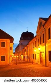 Trnava, Slovakia - March 31, 2016: Historic architecture in the old town of Trnava, Slovakia.