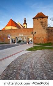 Trnava, Slovakia - March 31, 2016: Church and city walls of Trnava, western Slovakia.