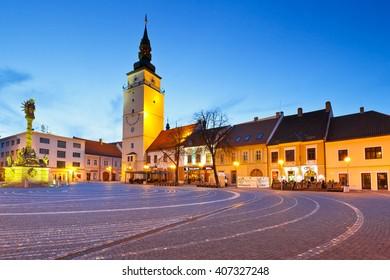 Trnava, Slovakia - March 31, 2016: City tower in the main square of Trnava, Slovakia.
