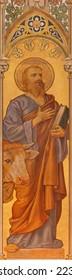 TRNAVA, SLOVAKIA - OCTOBER 14, 2014: The neo-gothic fresco of st. Luke the evangelist by Leopold Bruckner (1905 - 1906) in Saint Nicholas church.
