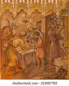 TRNAVA, SLOVAKIA - OCTOBER 14, 2014: The neo-gothic fresco of fhe scene as Israelites at the Pesach supper at the Lord's Passover by Leopold Bruckner (1905 - 1906) in Saint Nicholas church.