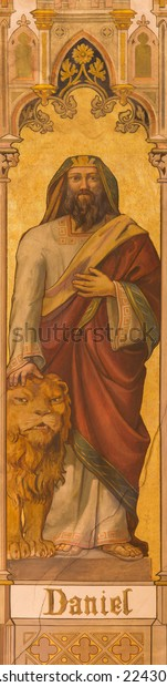 TRNAVA, SLOVAKIA - OCTOBER 14, 2014: The neo-gothic fresco of prophet Daniel by Leopold Bruckner (1905 - 1906) in Saint Nicholas church.