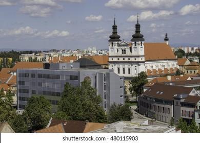 Trnava university with  university church, view from Trnava tower, Slovakia