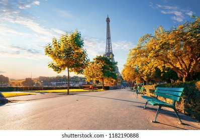 Trocadero Garden in autumn and view of the Eiffel Tower in Paris, France
