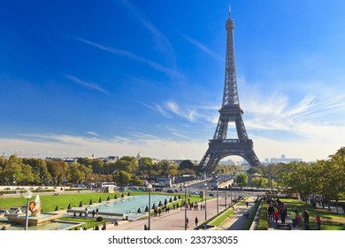 Trocadero Gardens and the Eiffel Tower across the river