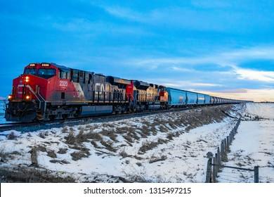 TROCHU, ALBERTA, CANADA - DECEMBER 20, 2018: CN train in motion.