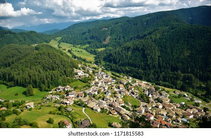 Trodena, view from the mountain, Italy