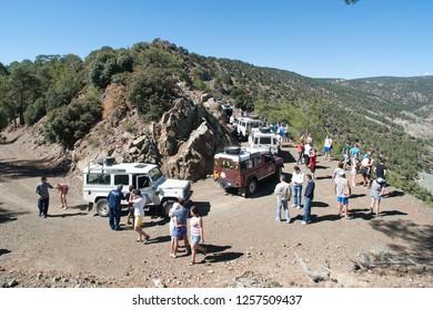 Trodos mountains / Cyprus - 8 October 2013: Tourists on the jeep tour safari to Trodos mountains