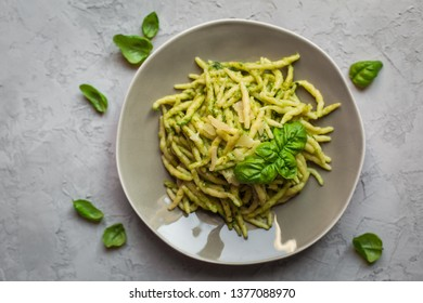 Trofie al pesto - italian pasta with pesto.