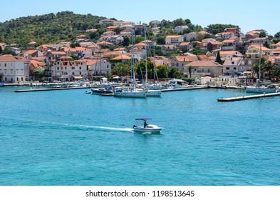 TROGIR, CROATIA - 11 JULY 2017. Port of Trogir with boats and ships, Croatia.