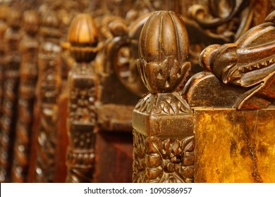 TROGIR, CROATIA - APR 15, 2018 - Detail of choir stalls in the St Lawrence Cathedral, Trogir, Croatia