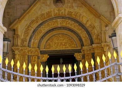 TROGIR, CROATIA - APR 15, 2018 -Lunette with Bible stories on the porch of St Lawrence Cathedral, Trogir, Croatia