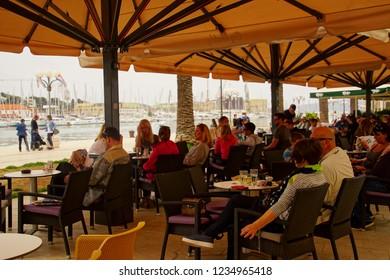 TROGIR, CROATIA - APR 15, 2018 -Small restaurant in the old city of Trogir, Croatia