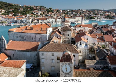 Trogir, Croatia, July 24, 2018: Trogir, a historic town on the Adriatic coast of Croatia. The town's center is a UNESCO World Heritage Site for its Venetian architecture.