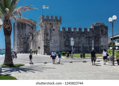 TROGIR, CROATIA-JUNI 08, 2018: Trogir is a historic town and harbour on the Adriatic coast in Split-Dalmatia County. Since 1997, the historic centre of Trogir has been included in the UNESCO list.