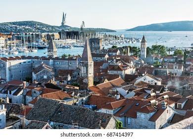 Trogir is a historic town and harbor on the Adriatic coast in Split-Dalmatia county, Croatia. Travel destination. Architectural scene.
