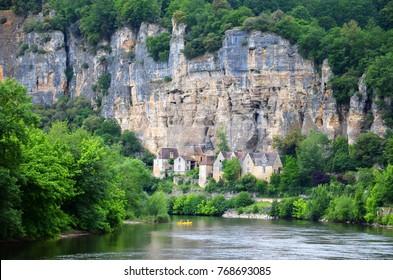 Troglodyte village along the Vezere river in Dordogne region