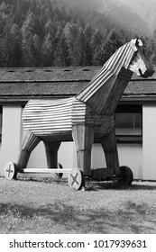 Trojan horse replica in Italy. Wooden military machine. Symbol of treachery and deception.