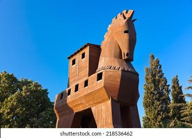 Trojan Horse at Troy Turkey - travel background