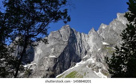 The Troll Wall (English) or Trollveggen (Norwegian) is part of the mountain massif Trolltindene (Troll Peaks) in the Romsdalen valley, Norway.