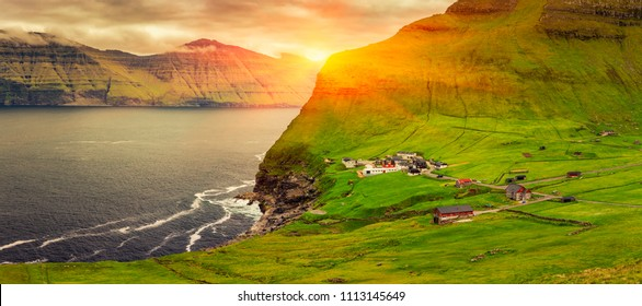 Trollanes Village, Kalsoy Island, Faroe Islands, Sunrise Over Mountains, Beautiful Panoramic Scene Of Nordic Islands