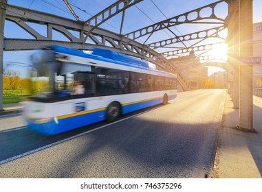 A trolley bus in old town of Ostrava in sunset time. Czech Republic, Europe.