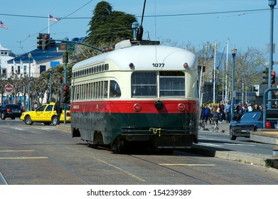 Trolley Car moves through the street in San Francisco