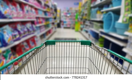 trolley in department store, Shopping cart in supermarket.