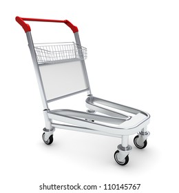Trolley for luggage at the airport. Isolated on white background