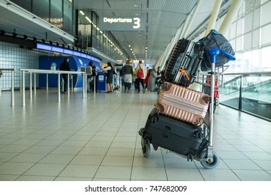 Trolley luggage  airport for prepare to check in bags