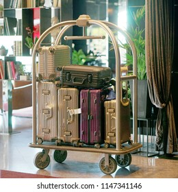 Trolley Luggage at the hotel. Hotel baggage cart